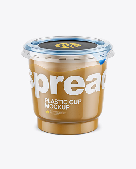 Clear Plastic Cup with Peanut Butter Mockup (High-Angle Shot)