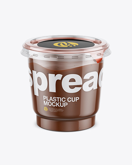 Clear Plastic Cup with Chocolate Spread Mockup (High-Angle Shot)