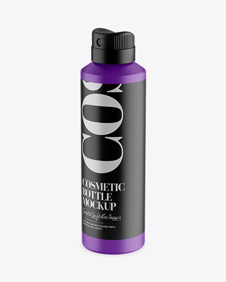 Matte Spray Bottle Mockup - Half Side View (High-Angle Shot)