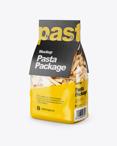 Pennette Rigate Pasta with Paper Label Mockup - Half Side View