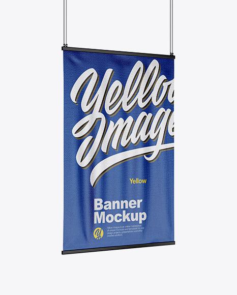 Textured Banner Mockup - Half Side View