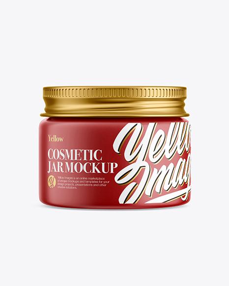 Matte Cosmetic Jar with Metallic Cap Mockup - Front View