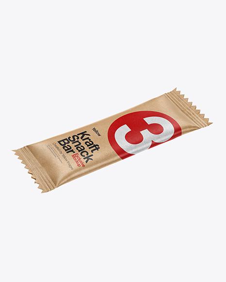 Kraft Snack Bar Mockup - Half Side View (High-Angle Shot)