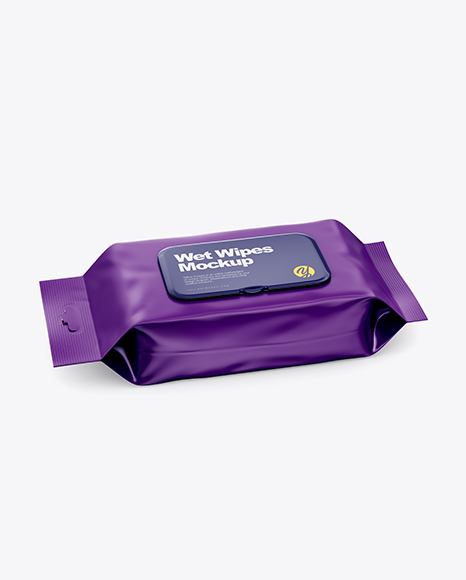 Matte Wet Wipes Pack W/ Plastic Cap Mockup - Half SIde View (High Angle Shot)