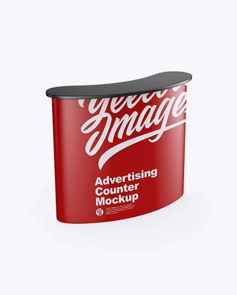 Matte Advertising Counter Mockup - Half Side View (High-Angle Shot)
