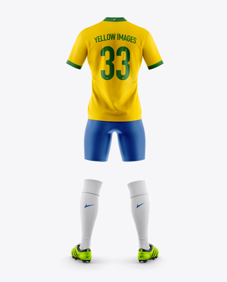 Men's Full Soccer Kit Mockup - Back View