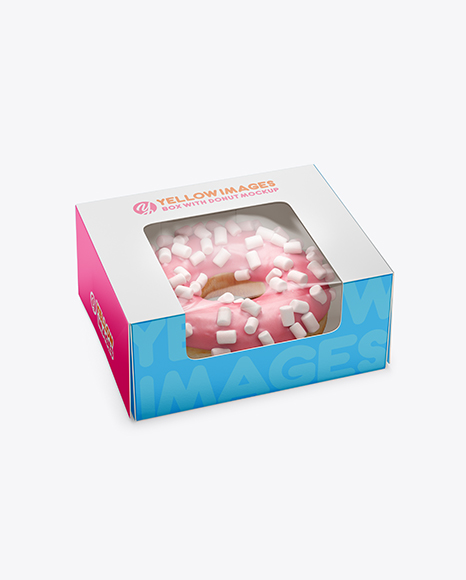 Download Box W/ Donut Mockup - Half Side View (High Angle Shot) in ...
