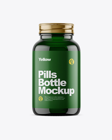 Dark Green Glass Bottle With Pills Mockup