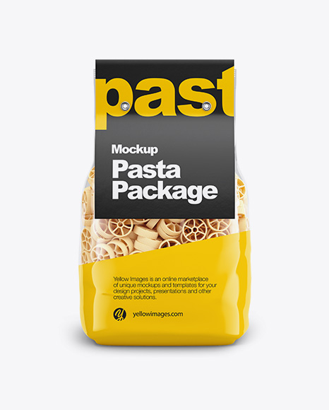 Ruote Pasta with Paper Label Mockup - Front View