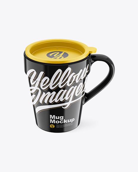 Glossy Mug w/ Cap Mockup - Front View (High-Angle Shot)