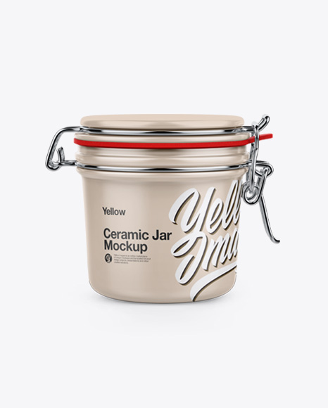 Ceramic Jar w/ Clamp Lid Mockup
