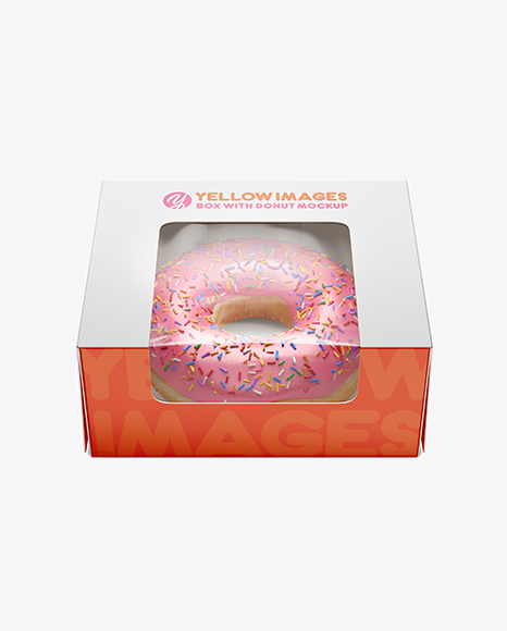 Box W/ Donut Mockup - Front View (High Angle Shot)