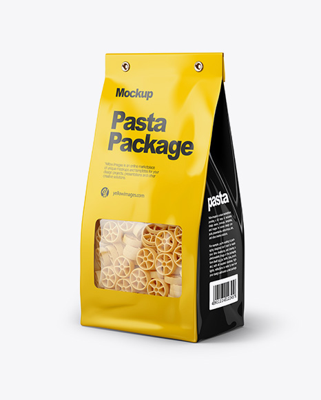 Paper Bag with Ruote Pasta Mockup - Half Side View