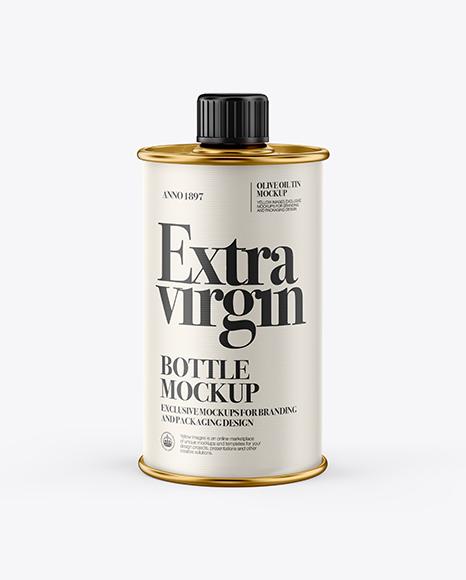 750ml Olive Oil Metal Bottle Mockup