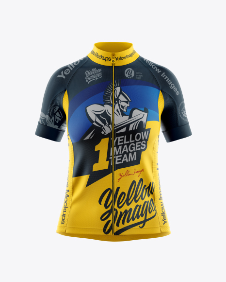 Download Free Women's Full-Zip Cycling Jersey Mockup - Front View ...