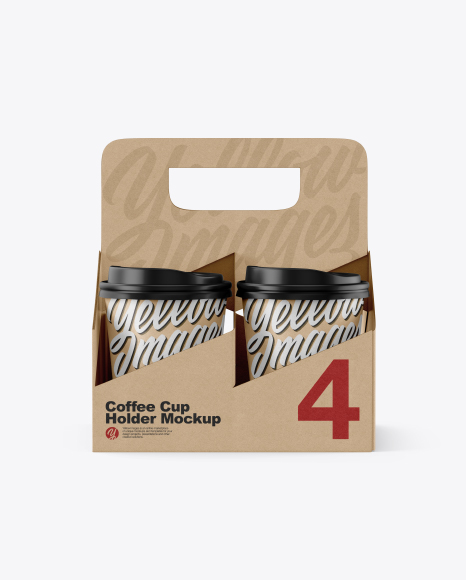 Kraft Coffee Cup Holder W/ Kraft Cups Mockup - Front View