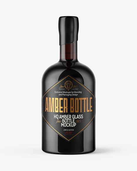 Dark Amber Glass Bottle with Wooden Cap & Wax Mockup