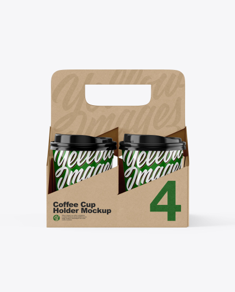 Kraft Coffee Cup Holder W/ Glossy Cups Mockup - Front View