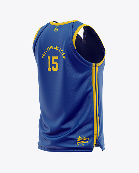 Men's Basketball Jersey Mockup - Back Half Side View