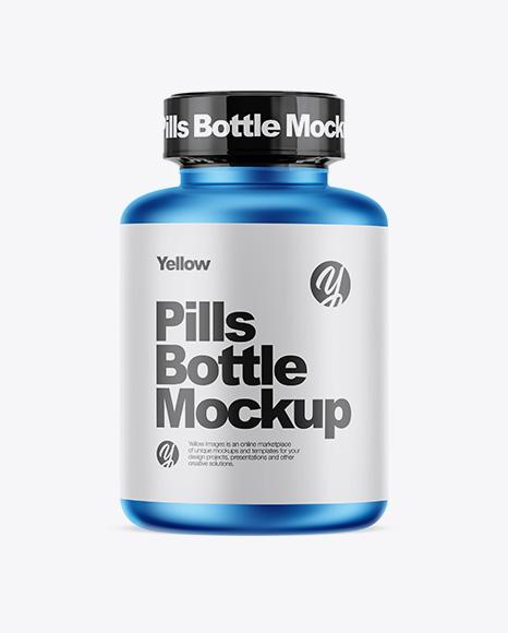 Matte Metallic Pills Bottle With Shrink Sleeve Mockup