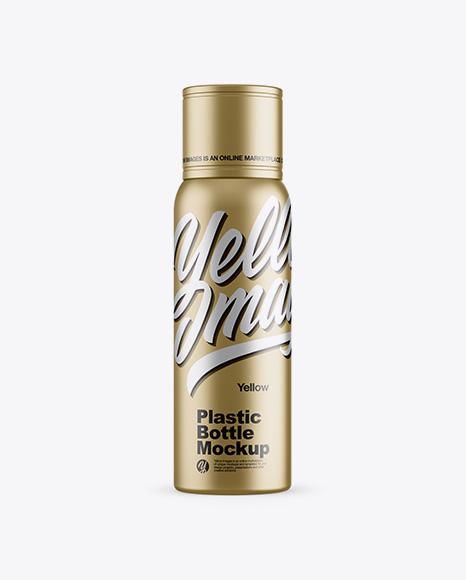 Metallic Plastic Bottle Mockup - Front View