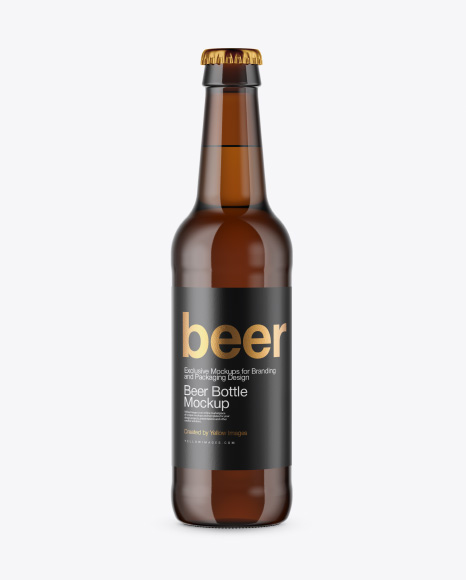 Amber Beer Bottle Mockup - Front View