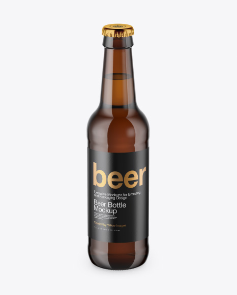 Amber Beer Bottle Mockup - Front View (High-Angle Shot)