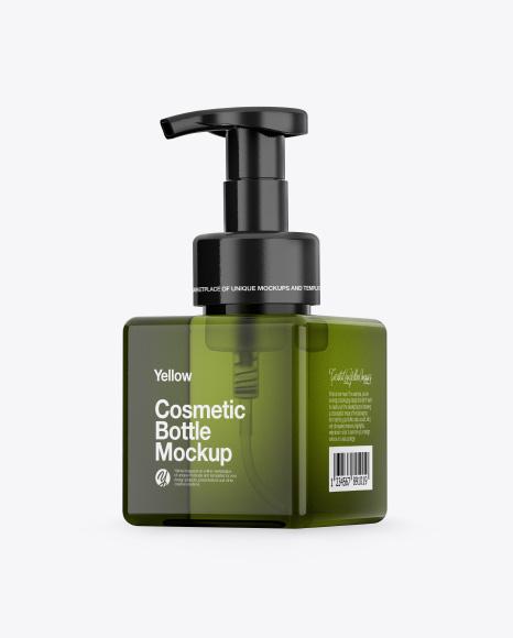 Green Cosmetic Bottle Mockup - Half Side View