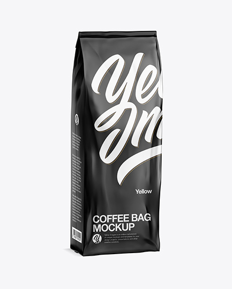 500g Glossy Coffee Bag Mockup - Half Side View