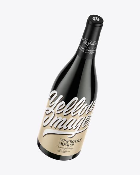 750ml Green Glass Dark Wine Bottle Mockup