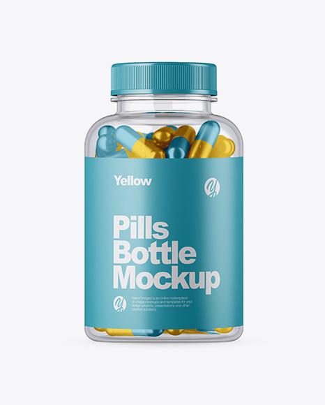 Clear Glass Bottle w/ Metallic Pills Mockup
