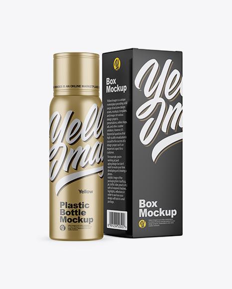Metallic Plastic Bottle w/ Paper Box Mockup