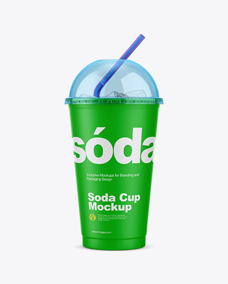 Matte Plastic Soda Cup With Ice and Cap Mockup