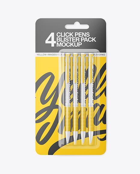 Blister Pack of 4 Click Pens Mockup