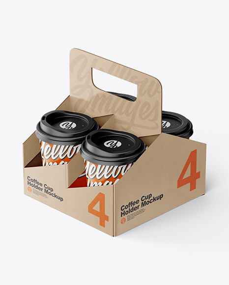 Kraft Coffee Cup Holder W/ Matte Cups Mockup