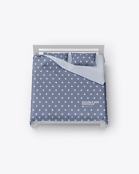 Double Bed with Cotton Linens Mockup