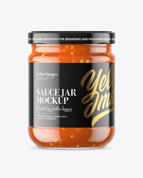 Clear Glass Sweet & Sour Sauce Jar Mockup