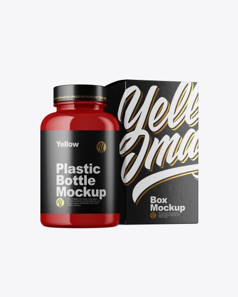 Glossy Bottle w/ Paper Box Mockup