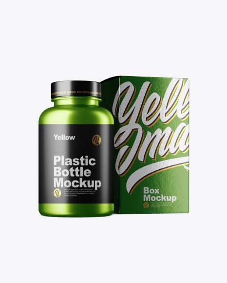 Metallc Bottle w/ Metallic Paper Box Mockup