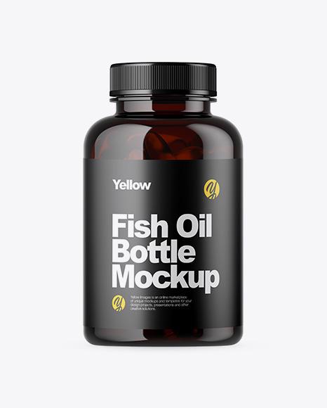 Dark Amber Bottle with Fish Oil Mockup