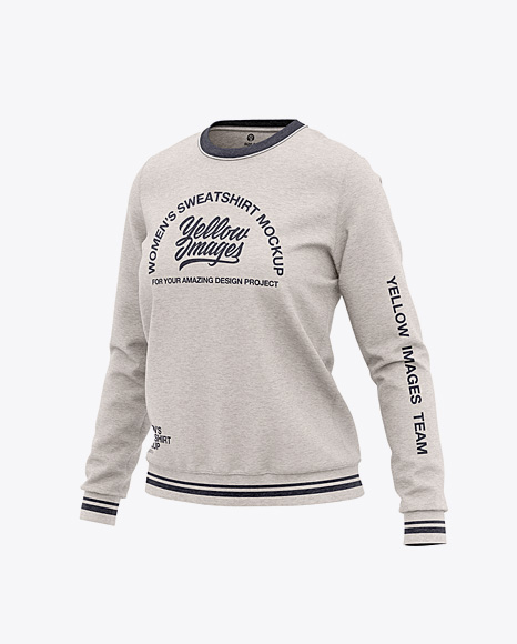 Women's Heather Crew Neck Sweatshirt - Front Half Side View