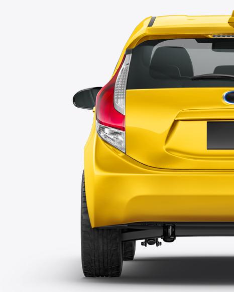 Hybrid Hatchback Car Mockup - Back View