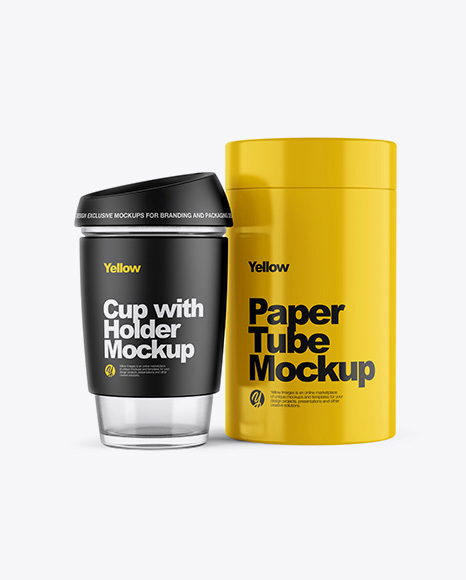 Cup with Holder & Glossy Tube Mockup
