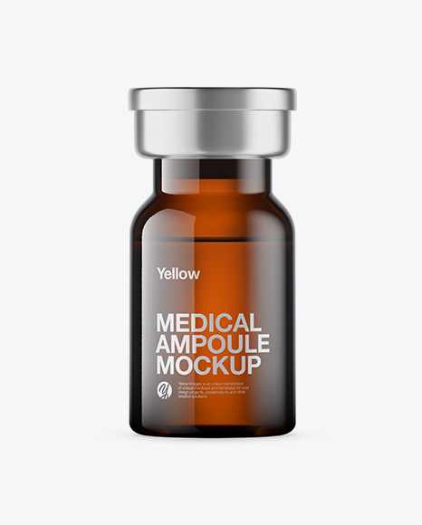 Amber Glass Medical Ampoule Mockup
