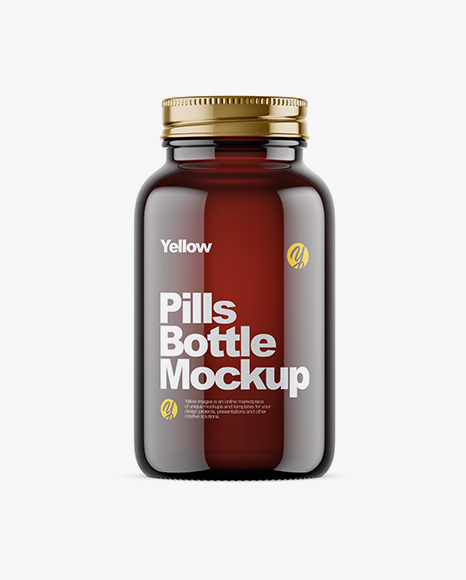 Empty Dark Amber Glass Pills Bottle Mockup