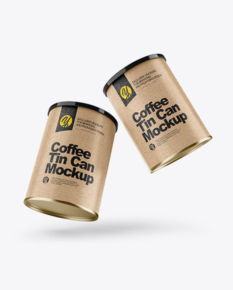 Two Coffee Tin Cans with Kraft Label Mockup