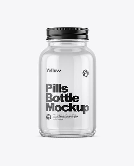 Empty Clear Glass Pills Bottle Mockup