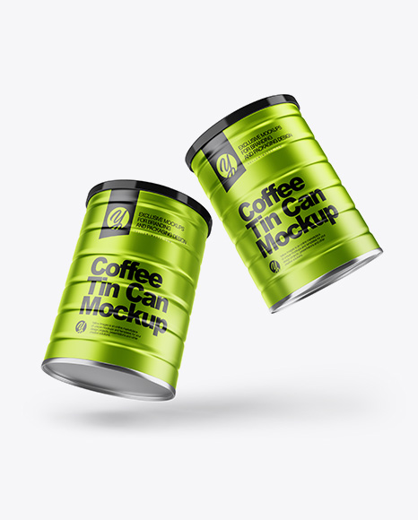 Two Metallic Coffee Tin Cans Mockup