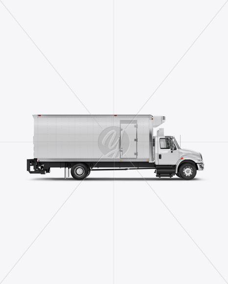 Download Box Truck Mockup - Side View in Vehicle Mockups on Yellow ...