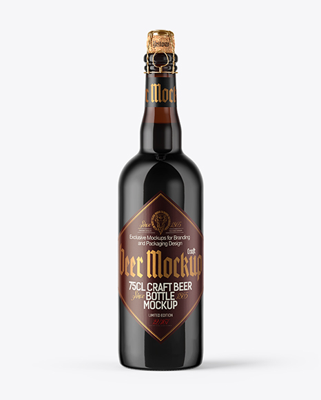 750ml Amber Stout Beer Bottle Mockup